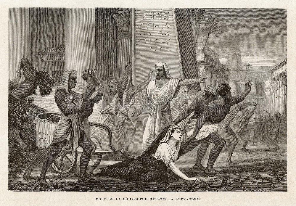 «Смерть философа Гипатии вАлександрии» из «Жития выдающихся ученых, от античности до девятнадцатого века», 1866 Луис Фигуер.