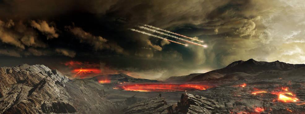 Метеориты падают нараннюю Землю. Иллюстрация: NASA