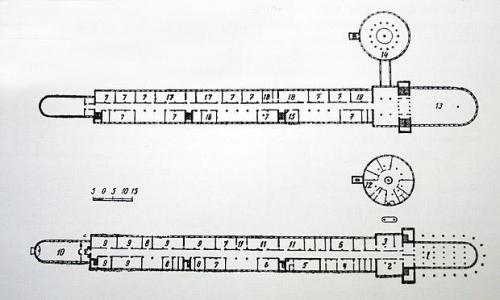 Изображение 16— План школы. Вкруглой пристройке находится столовая.