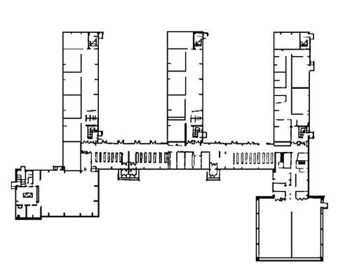 Изображение 7— План школы: три учебных блока соединены четвёртым.