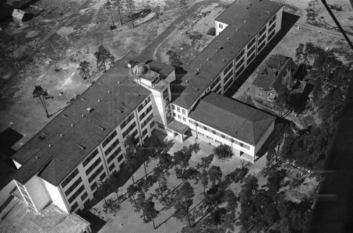 Изображение 1— Школа наЛесном проспекте, вид сверху. Виден купол обсерватории накрыше.