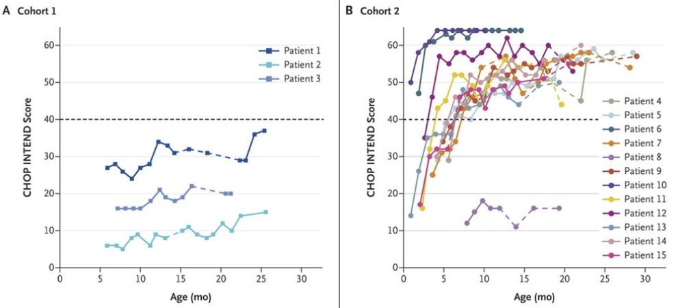 Индивидуальные данные пациентов по шкале моторных навыков CHOP INTEND. Слева— пациенты, неполучавшие генную терапию, справа— получившие Zolgensma. Единственный пациент, неответивший натерапию, получил её вболее позднем возрасте, чем ответившие
