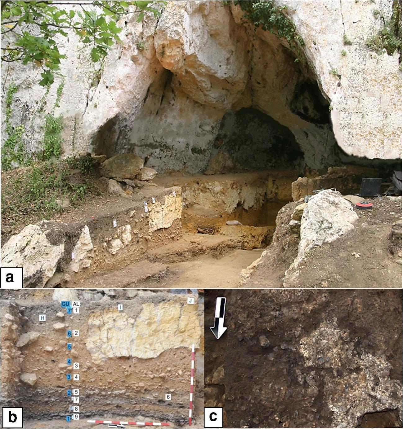 Раскопки впещере Рок де Марсаль. а) общий вид снаружи пещеры, b) западная стенка раскопа сотмеченными археологическими слоями, с) фрагмент слоя 9 спризнаками горения: тёмные богатые углём отложения ссохранившимся пеплом