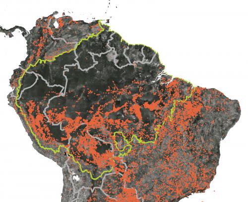 На спутниковом снимке показаны пожары вштатах Амазонас, Рондония, Пара иМату-Гросу.