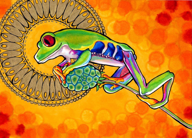 """Яд лягушки камбо иногда подаётся как несущий психоделические свойства, хотя насамом деле это нетак. / Рисунок <a href=""""https://www.deviantart.com/paintmyworldrainbow/art/Felicificative-Frog-317406846"""" rel=""""noopener"""" target=""""_blank"""">PaintMyWorldRainbow</a>."""