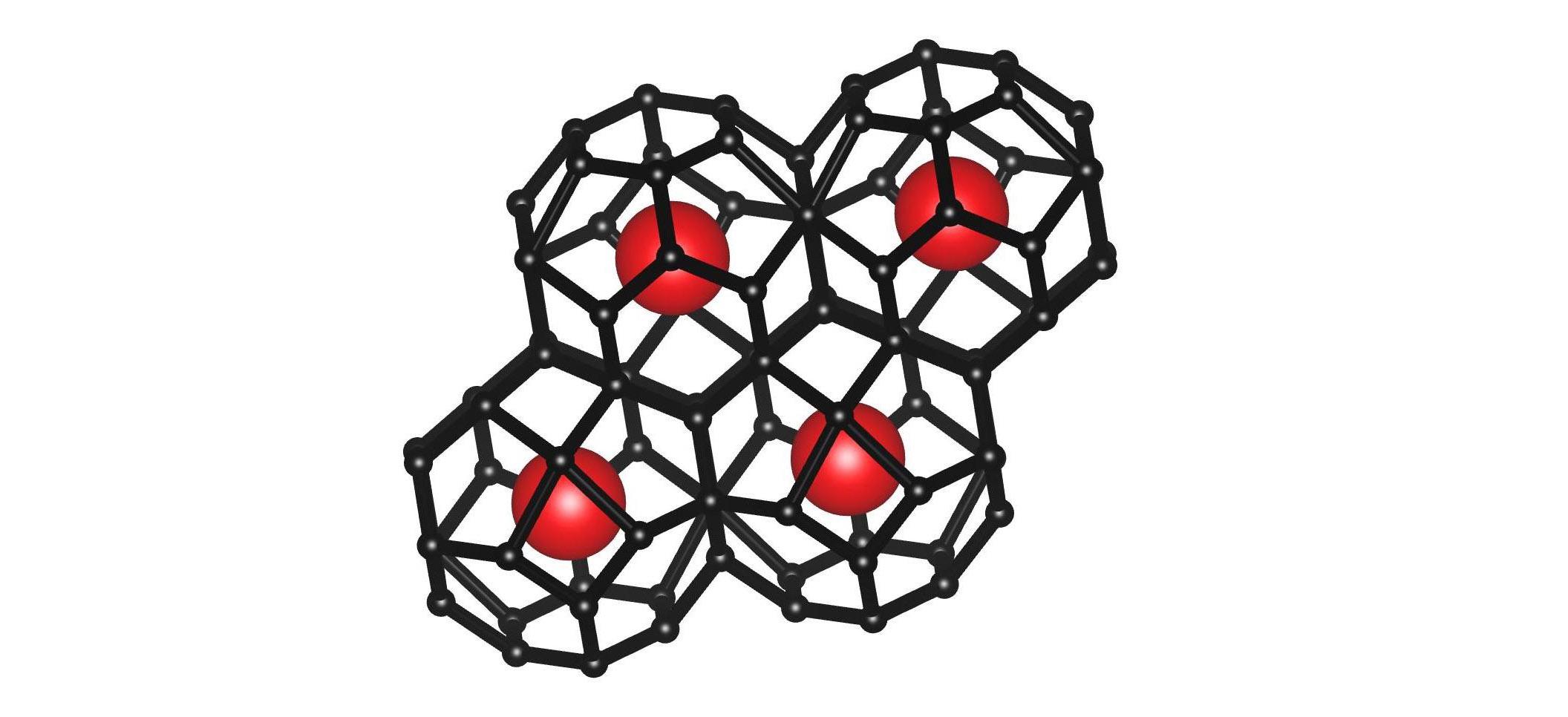 Кристаллическая структура полученного авторами исследования «запрещённого» соединения— супергидрида церия, CeH<sub>9</sub>. Атомы церия показаны ввиде красных сфер. Чёрным показаны атомы водорода ихимические связи между ними. Изображение: Иван Круглов, МФТИ иВНИИА им. Духова.