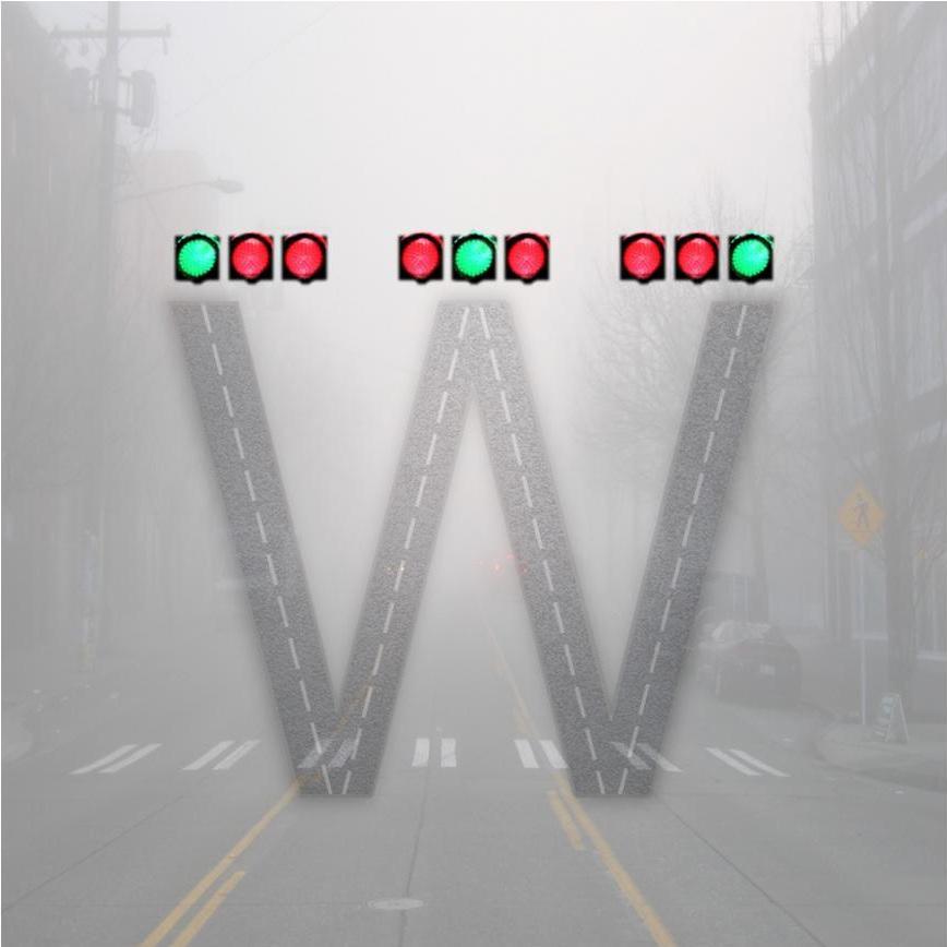 Иллюстрация W-состояния как суперпозиции трёх состояний трёх фотонов двух разных энергий.
