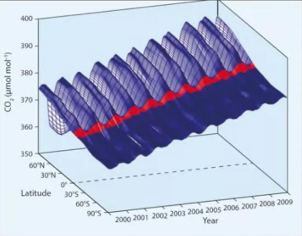 Изменение во времени концентрации одного из парниковых газов взависимости от географической широты. Видны чёткие сезонные колебания, особенно проявляющиеся вобласти арктических широт ивечной мерзлоты