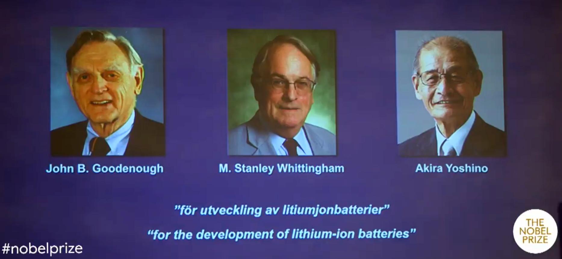 Лауреаты Нобелевской премии по химии 2019.