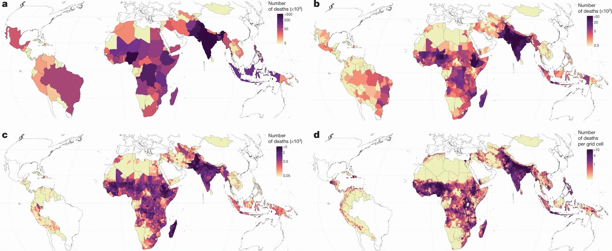 Оценка числа детей ввозрасте до 5 лет, умерших в99 исследованных странах в2017 году: a— число смертей детей ввозрасте до 5 лет вкаждой стране; b— число смертей вкаждой единице первого административного уровня; c— число смертей вкаждой второй единице административного уровня; d— число смертей вкаждой ячейке сетки 5 × 5км. Источник: Roy Burstein et al., <i>Nature</i>.