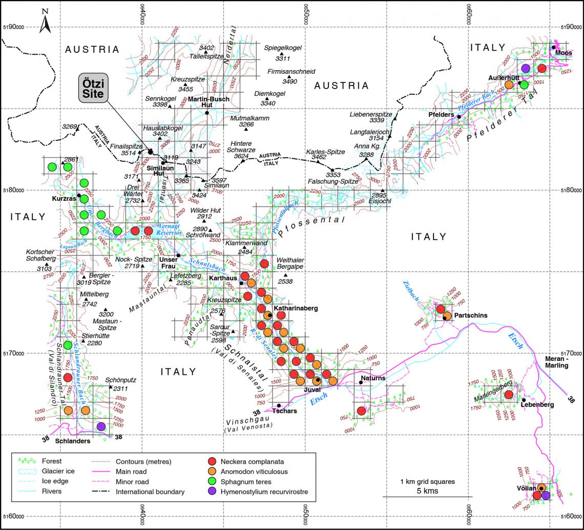 Карта, накоторой показано распространение видов мхов врайоне, где был найден Эци