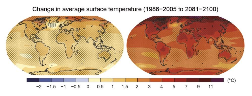 Рисунок 8. Если непроизойдёт технологического или законодательного снижения выбросов CO2 иони продолжат расти по нынешней траектории, то, согласно лучшим оценкам, кконцу этого века глобальная средняя температура поднимется ещё на2,6— 4,8°C (на 4,7— 8,6 °F) (справа). Слева показано прогнозируемое потепление при очень агрессивном сокращении выбросов. Нарисунке представлены многомодельные оценки средних значений температуры для 2081— 2100 годов по отношению к1986— 2005 годам. Источник: 5-й оценочный доклад МГЭИК