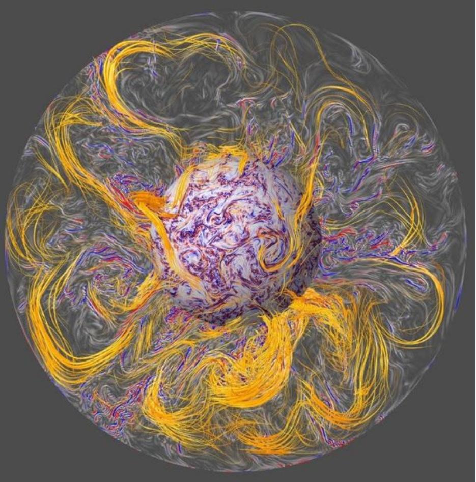 Моделирование вихрей магнитного поля Земли и«геомагнитных рывков». <i>Aubert et al./IPGP/CNRS Photo library</i>.