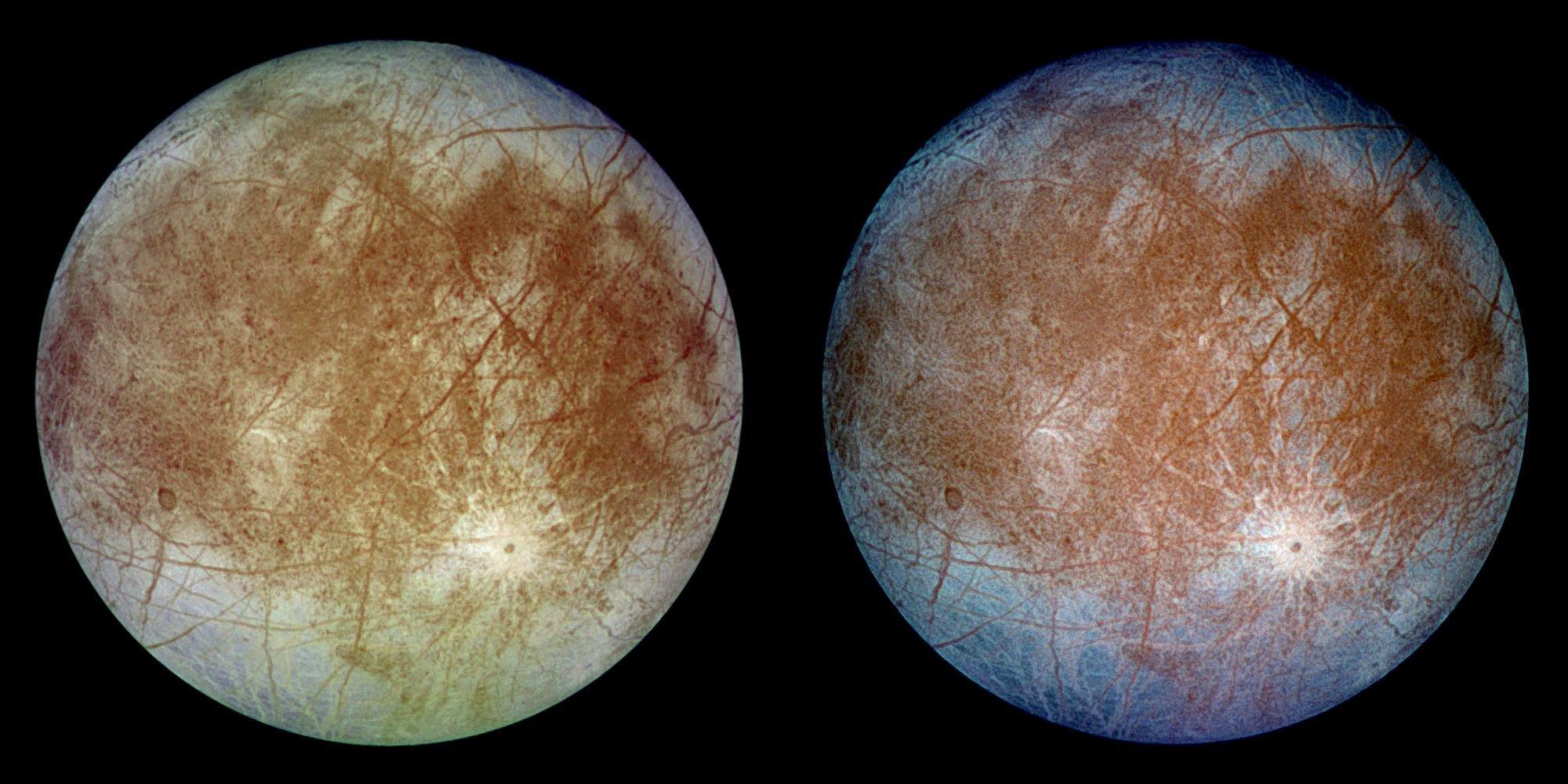 Спутник Юпитера Европа (естественные ипсевдоцвета сдобавлением ультрафиолетового иинфракрасного канала). By: <i>NASA/JPL-Caltech/DLR</i>.