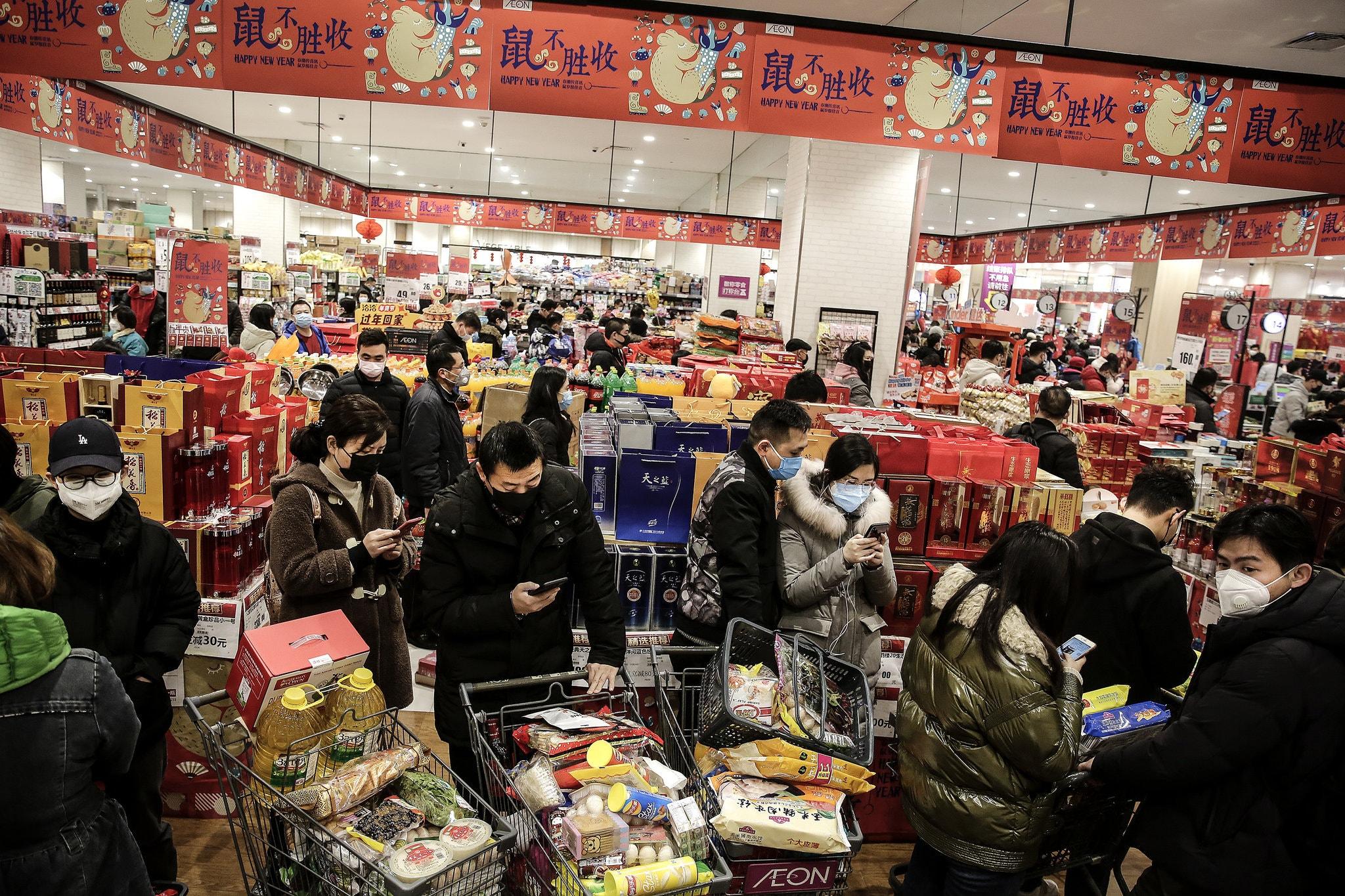 Супермаркет вУхане, январь 2020.