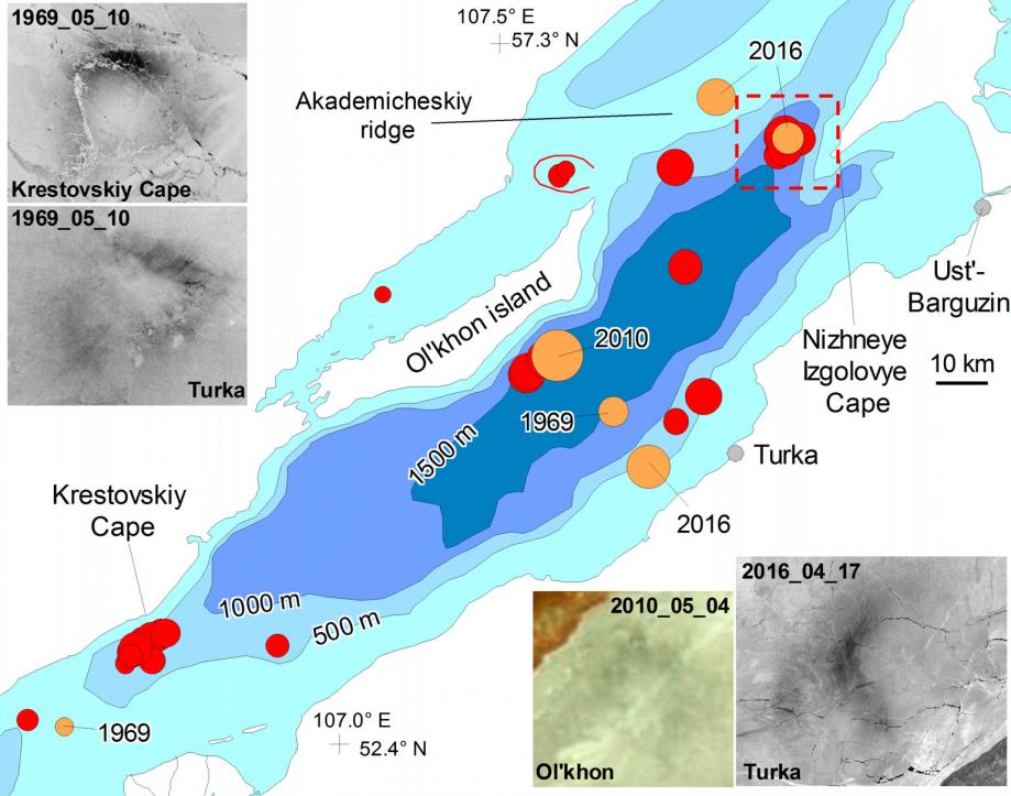 Baikal ice rings detection map