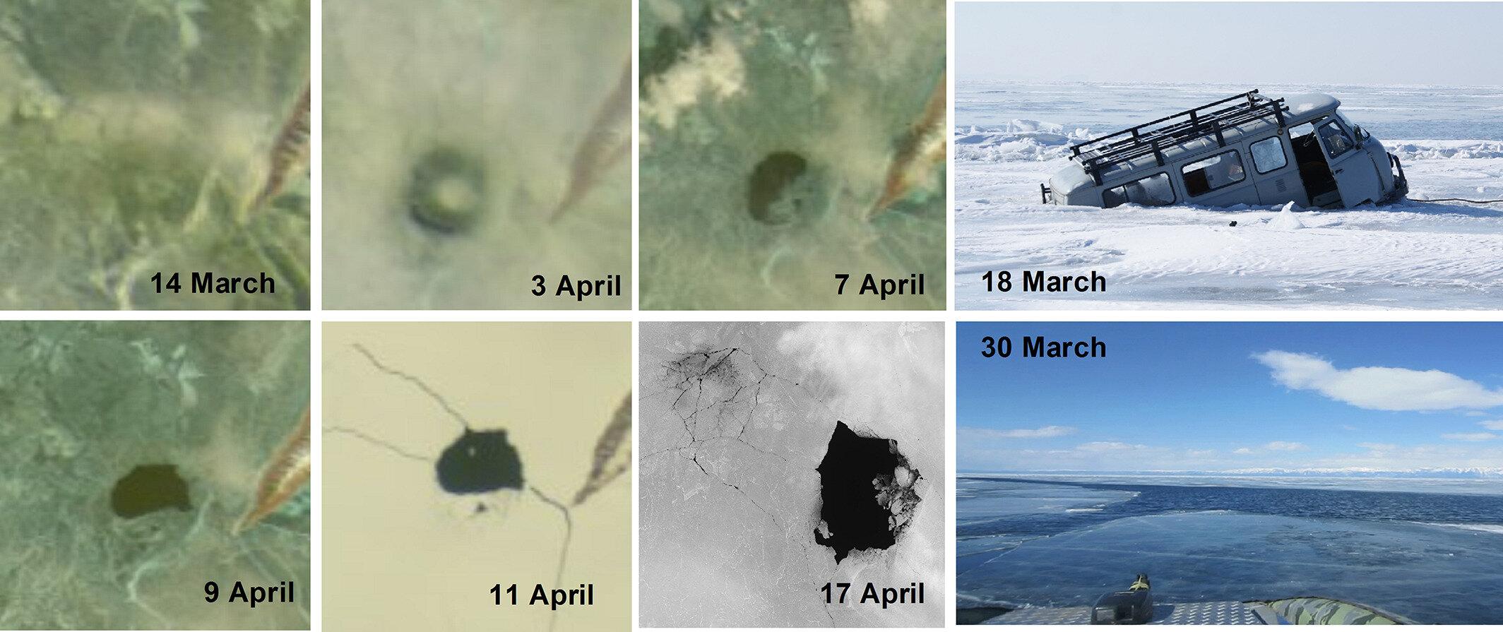 «Ледяное кольцо» наозере Байкал по спутниковым снимкам <i>MODIS</i> и<i>LANDSAT 8</i> (мыс Нижнее Изголовье). Диаметр структуры около 5км.
