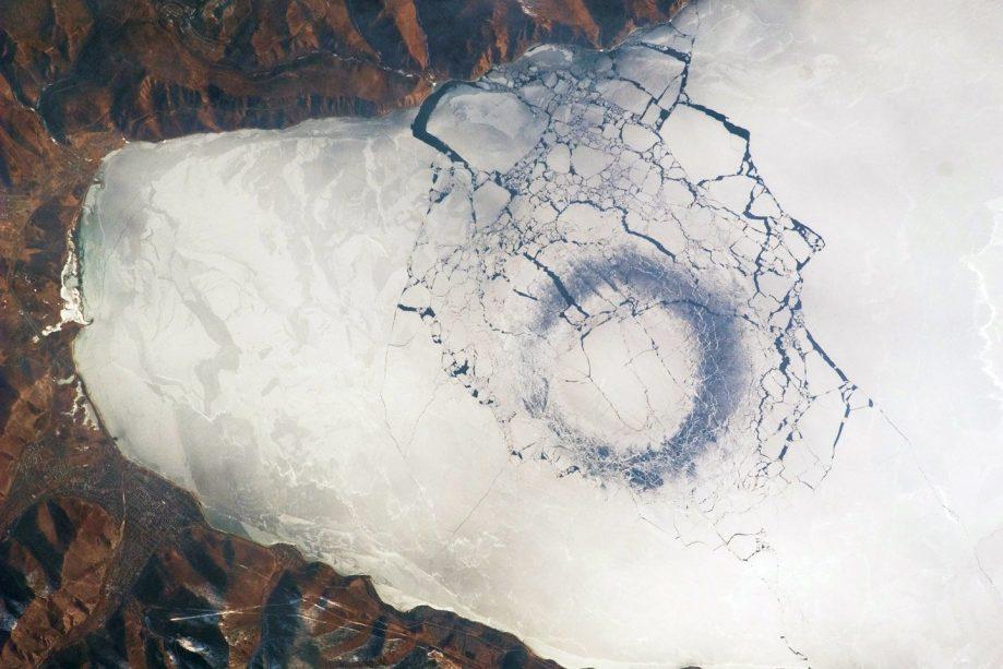 Baikal ice rings NASA 2009 ISS