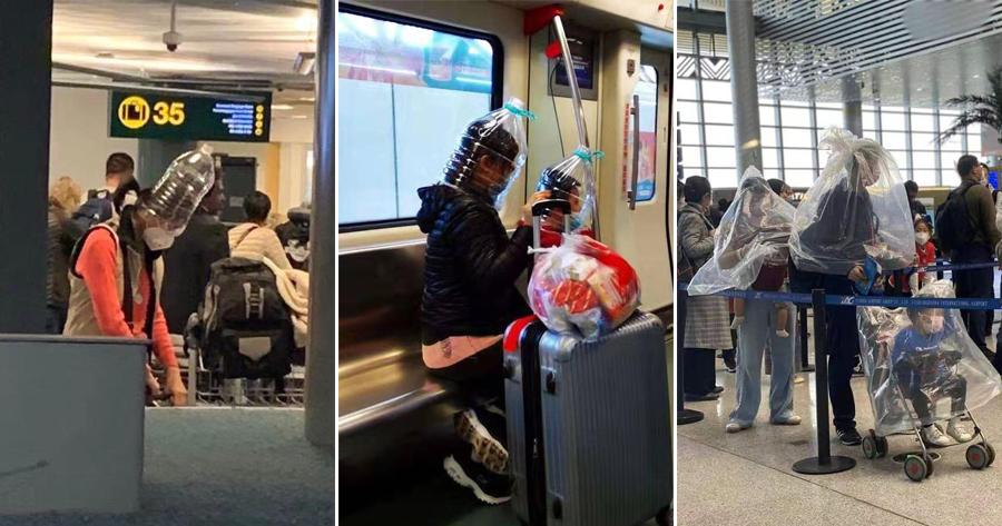 Как обезопасить себя от вируса, если марлевая маска негарантирует защиты? Ваэропортах появились люди спластиковыми бутылями наголовах.