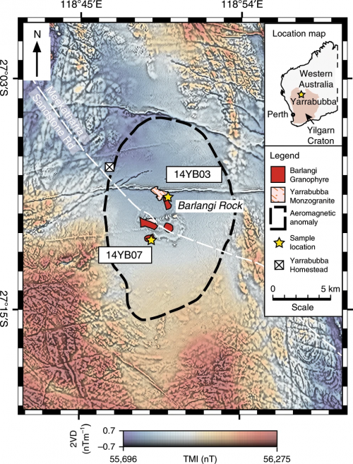 Yarrabubba impact crater magnetic anomaly map