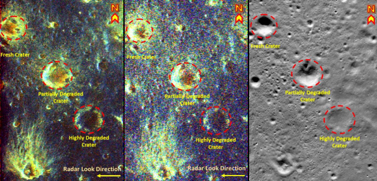 Lunar craters radar images