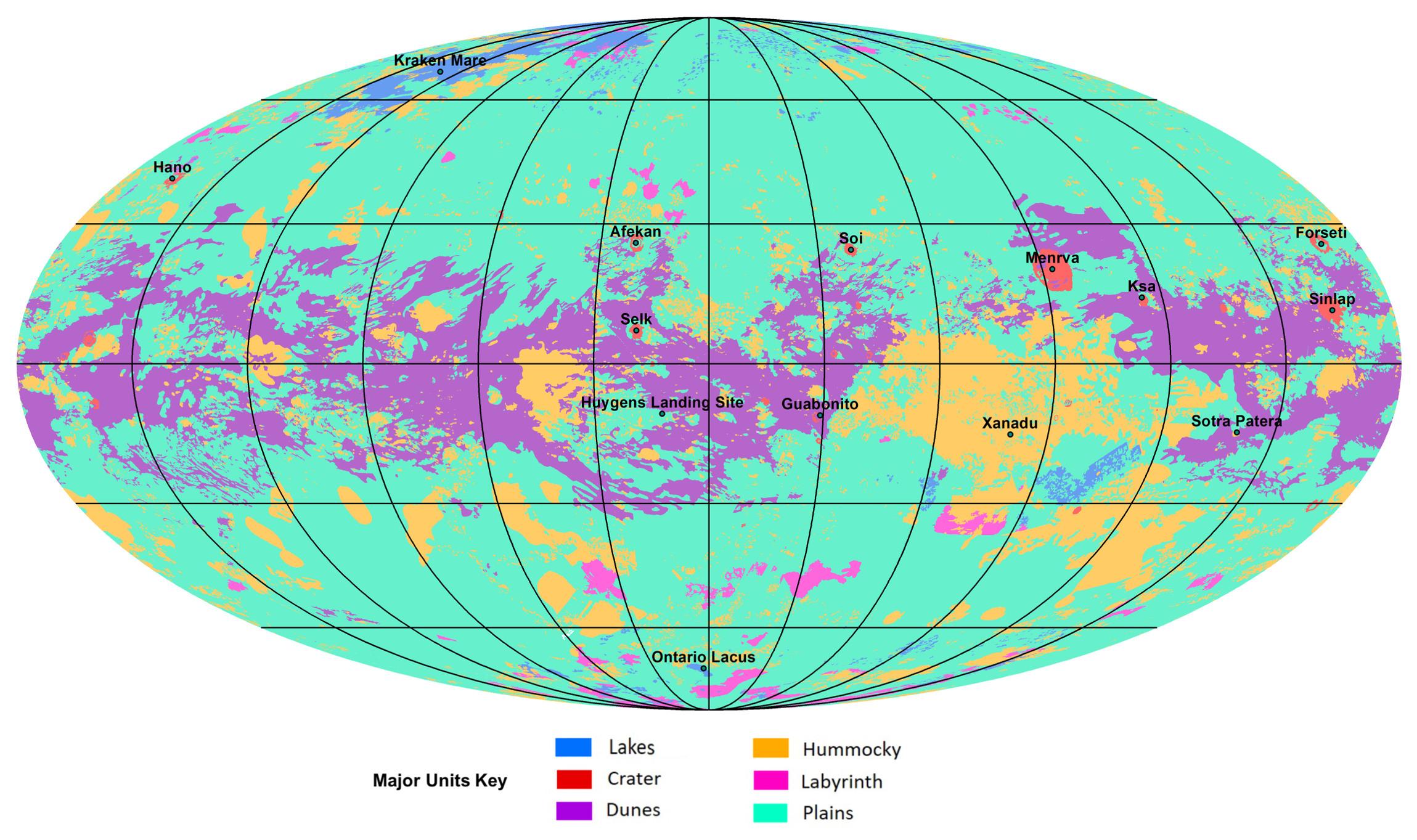 Основные типы рельефа Титана. <i>NASA/JPL-Caltech/ASU</i>.