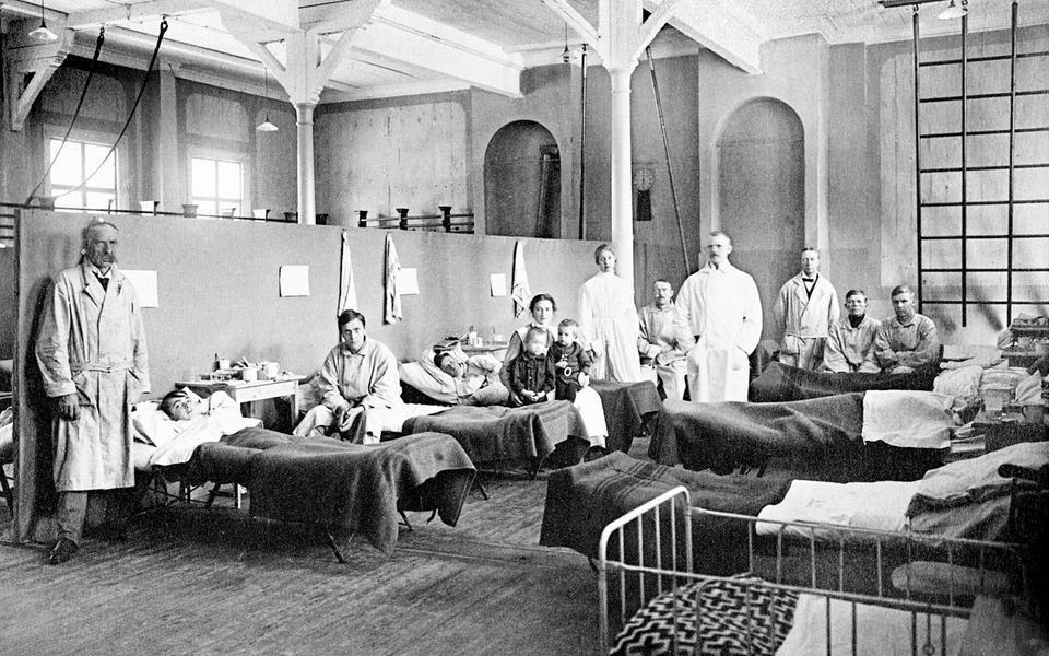 Временный госпиталь для больных «испанкой». Эстерсунд, Швеция, 1918 год