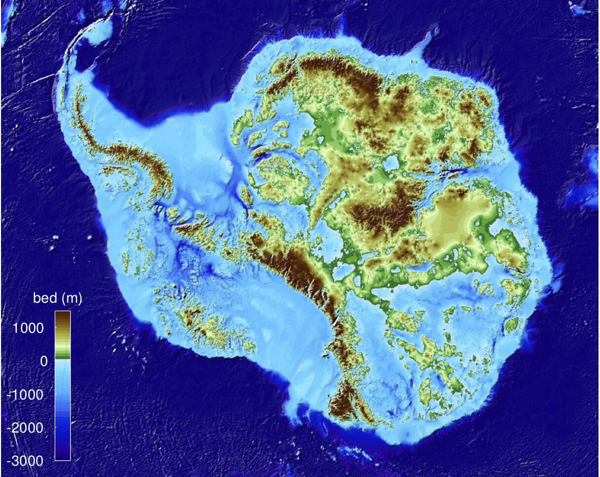 Новая цифровая модель рельефа (DEM) BedMachine Antarctica.