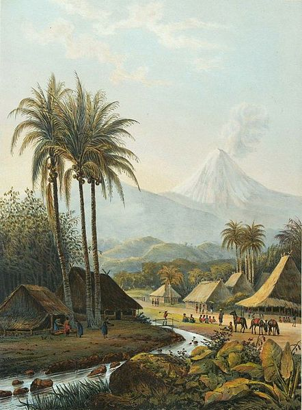 Semeru volcano lithography