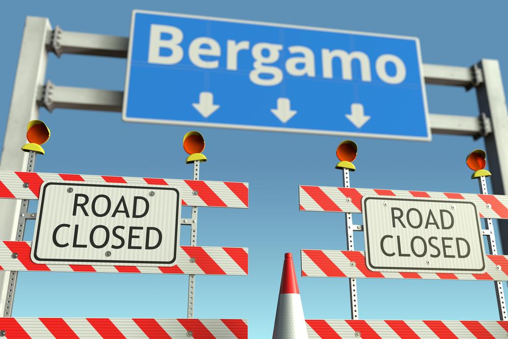 Закрытая дорога наБергамо. Италия. Карантин по коронавирусной инфекции.