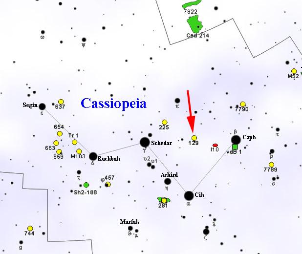 NGC 129 chart