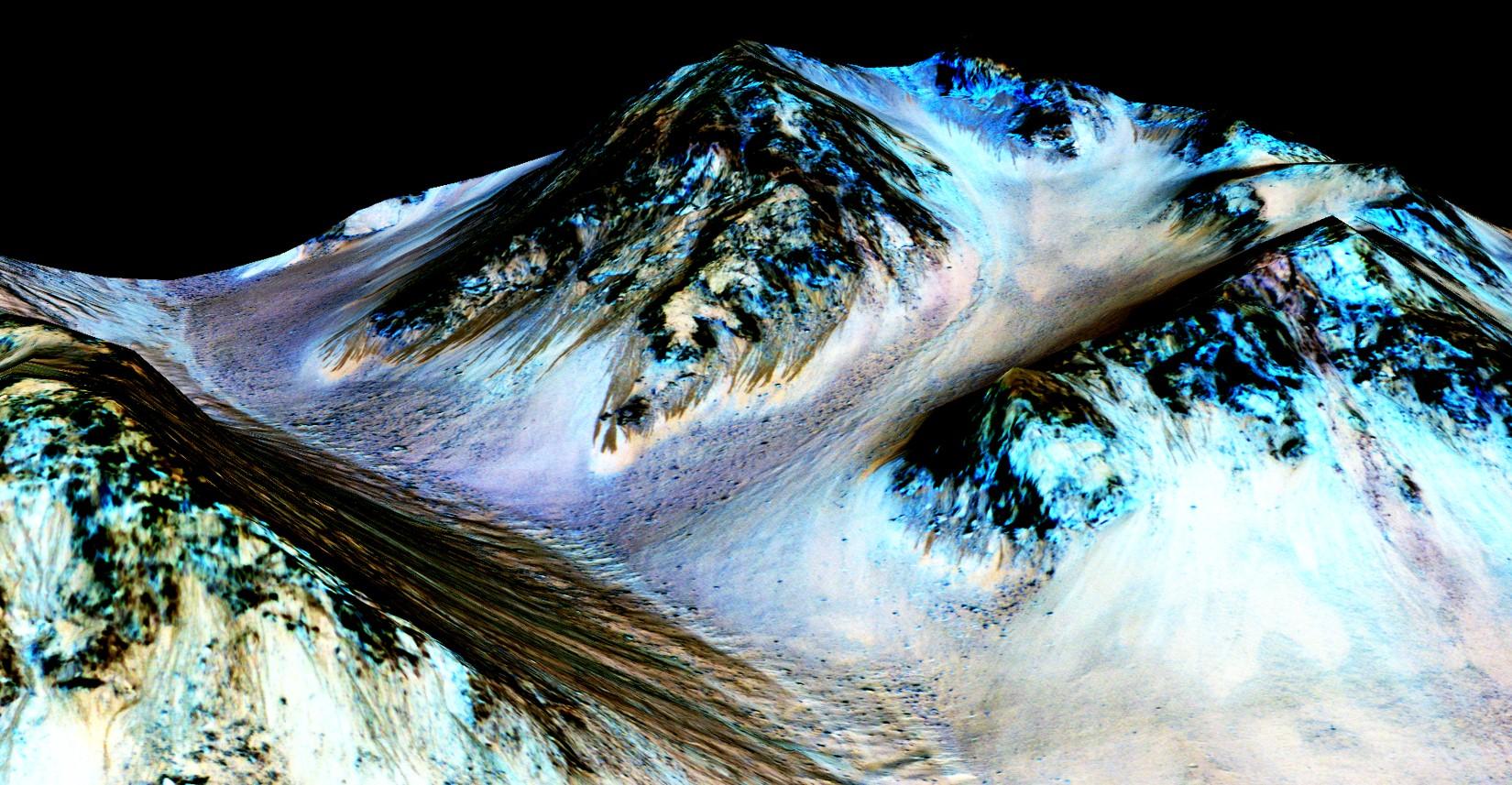 Сезонные потоки насклонах, кратер Хейла (Hale Crater). Псевдоцвета винфракрасном ивидимом диапазоне. <i>NASA/JPL/University of Arizona</i>.