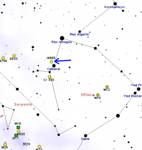 Summer Beehive Cluster IC4665 finder map