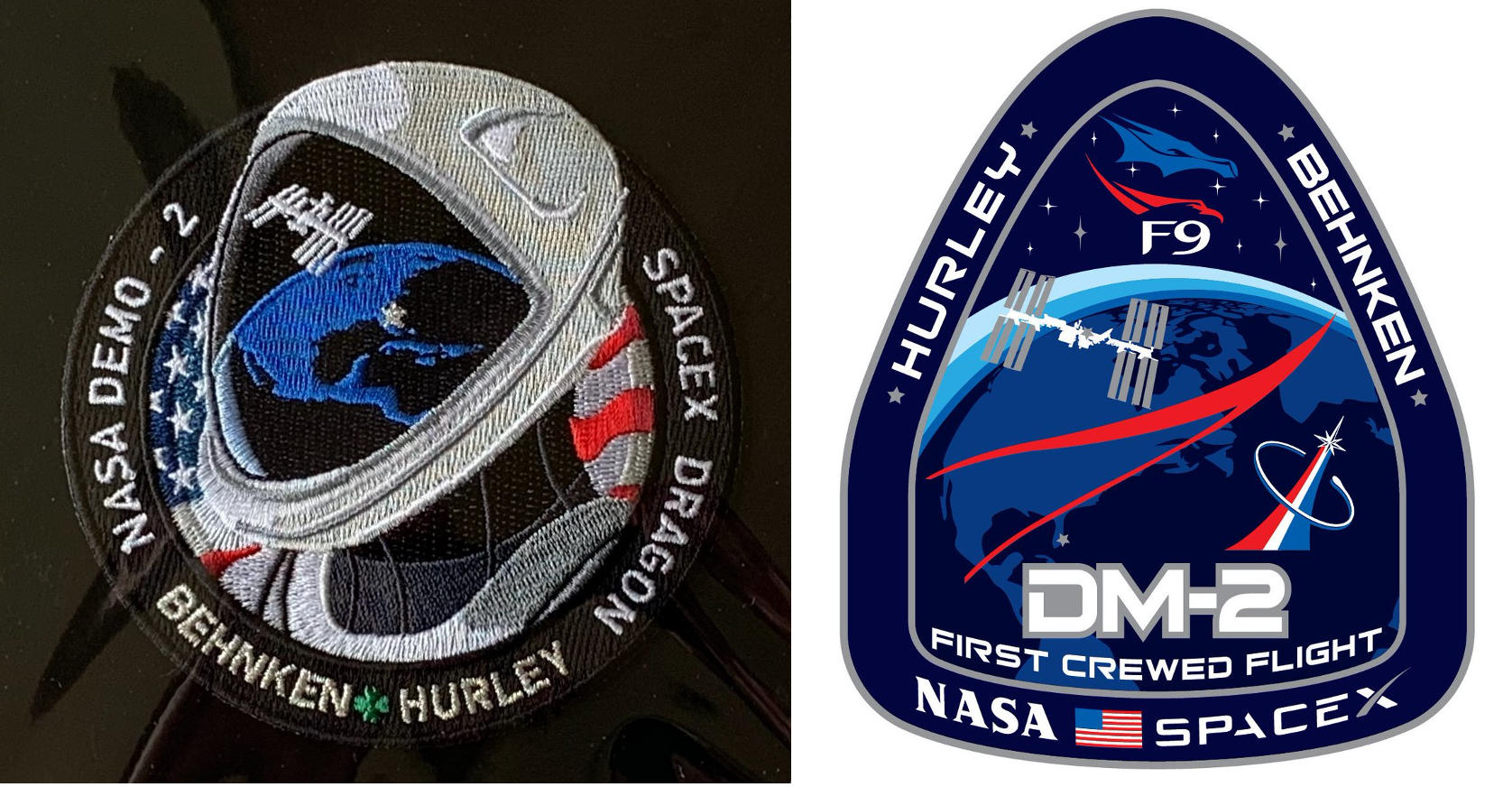 Space X and NASA mission logos