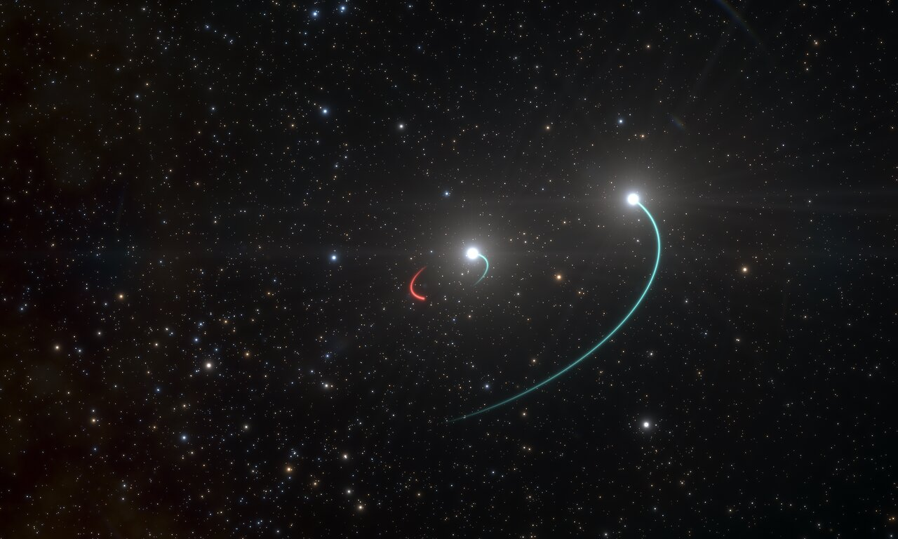 Тройная система HR 6819: две звезды ичёрная дыра (рисунок).  <i>ESO/L. Calçada</i>.