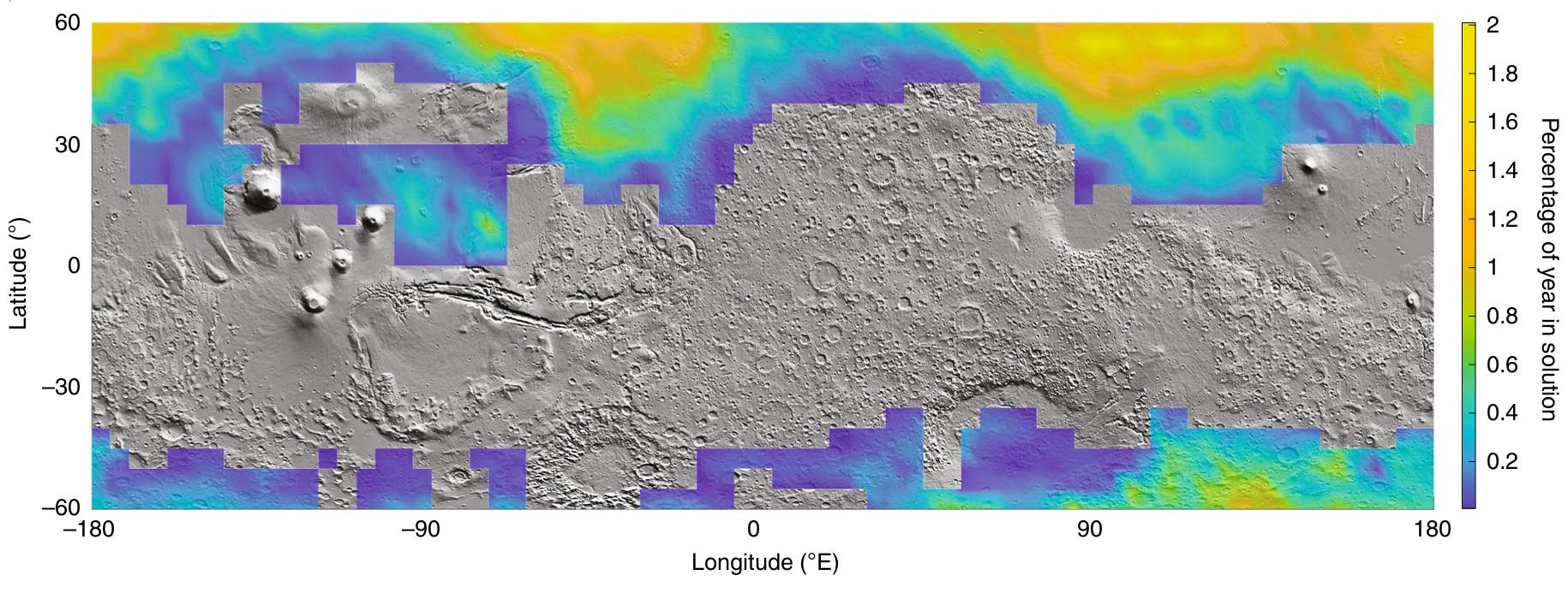 Martian brine stability areas