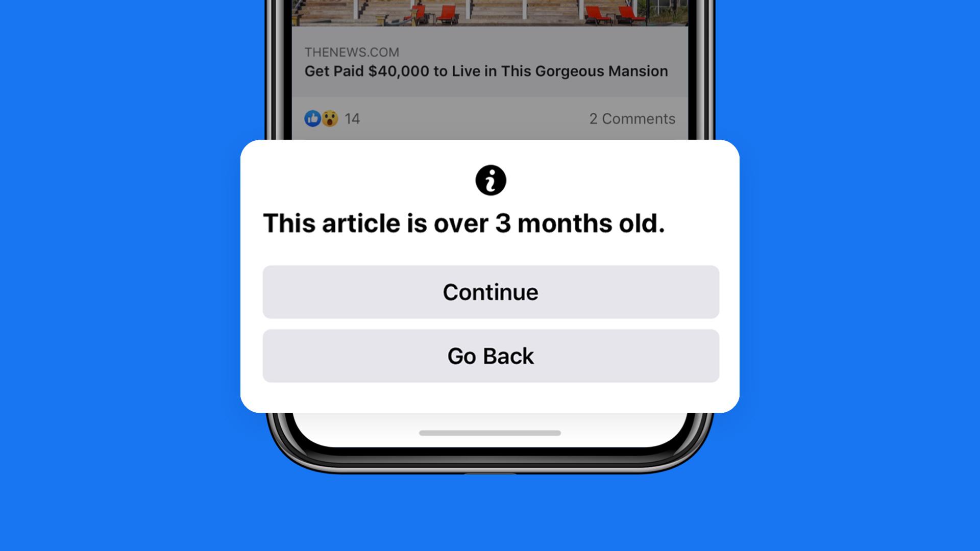 <i>Facebook</i> за актуальность: если статье, которую вы хотите репостнуть, больше 90 дней, вас об этом предупредят.