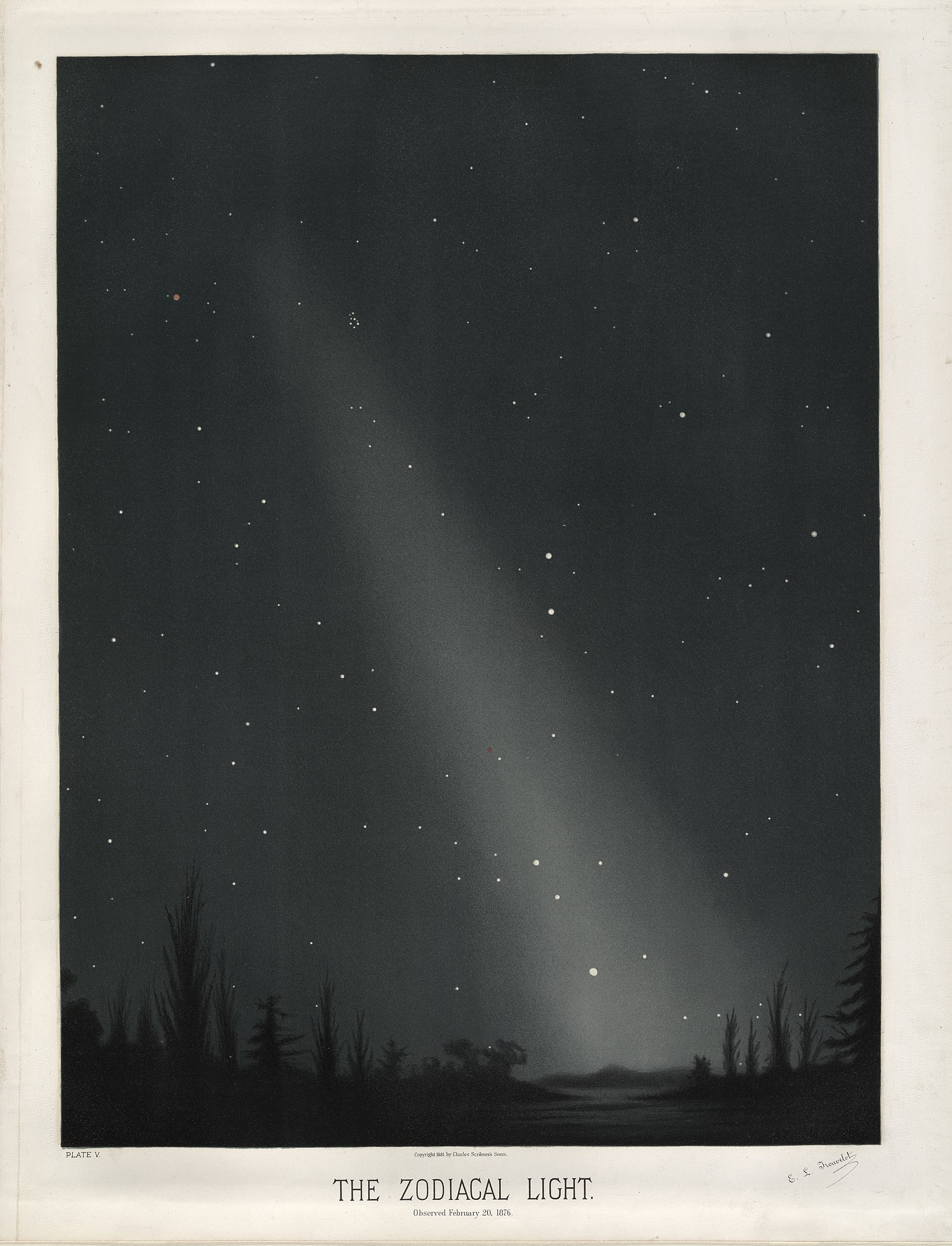 Zodiacal light by E.Trouvelot, 1876