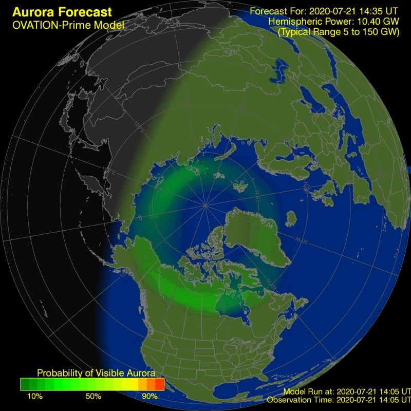 Auroral oval forecast by OVATION model
