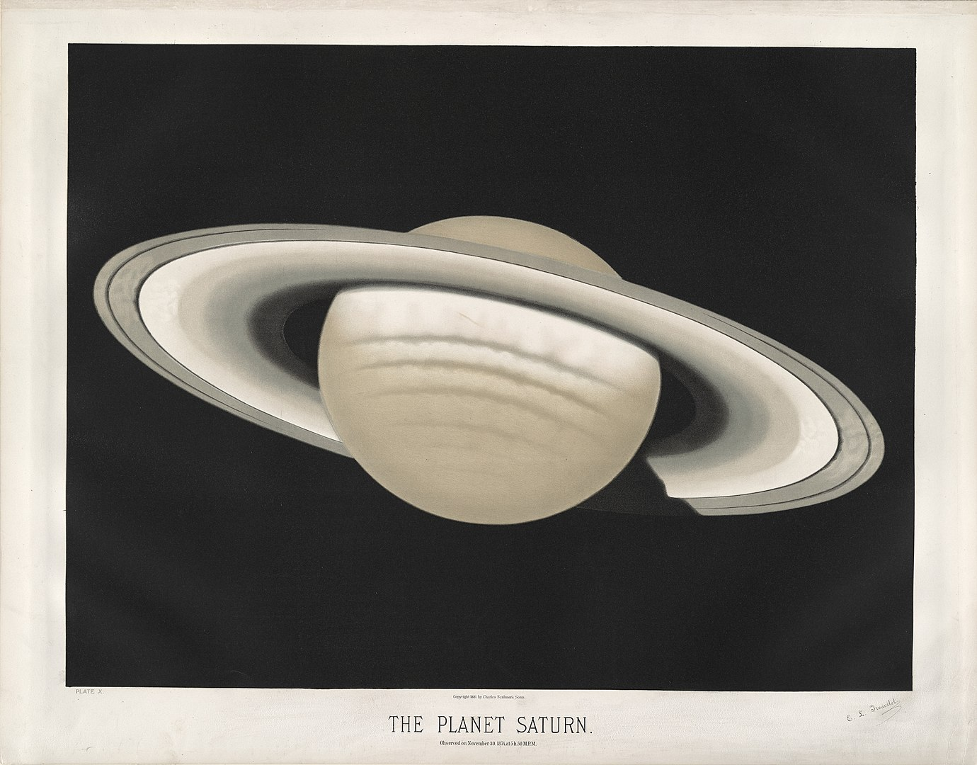Saturn by E.Trouvelot, 1874