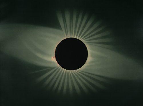 Solar eclipse by E.Trouvelot 1878