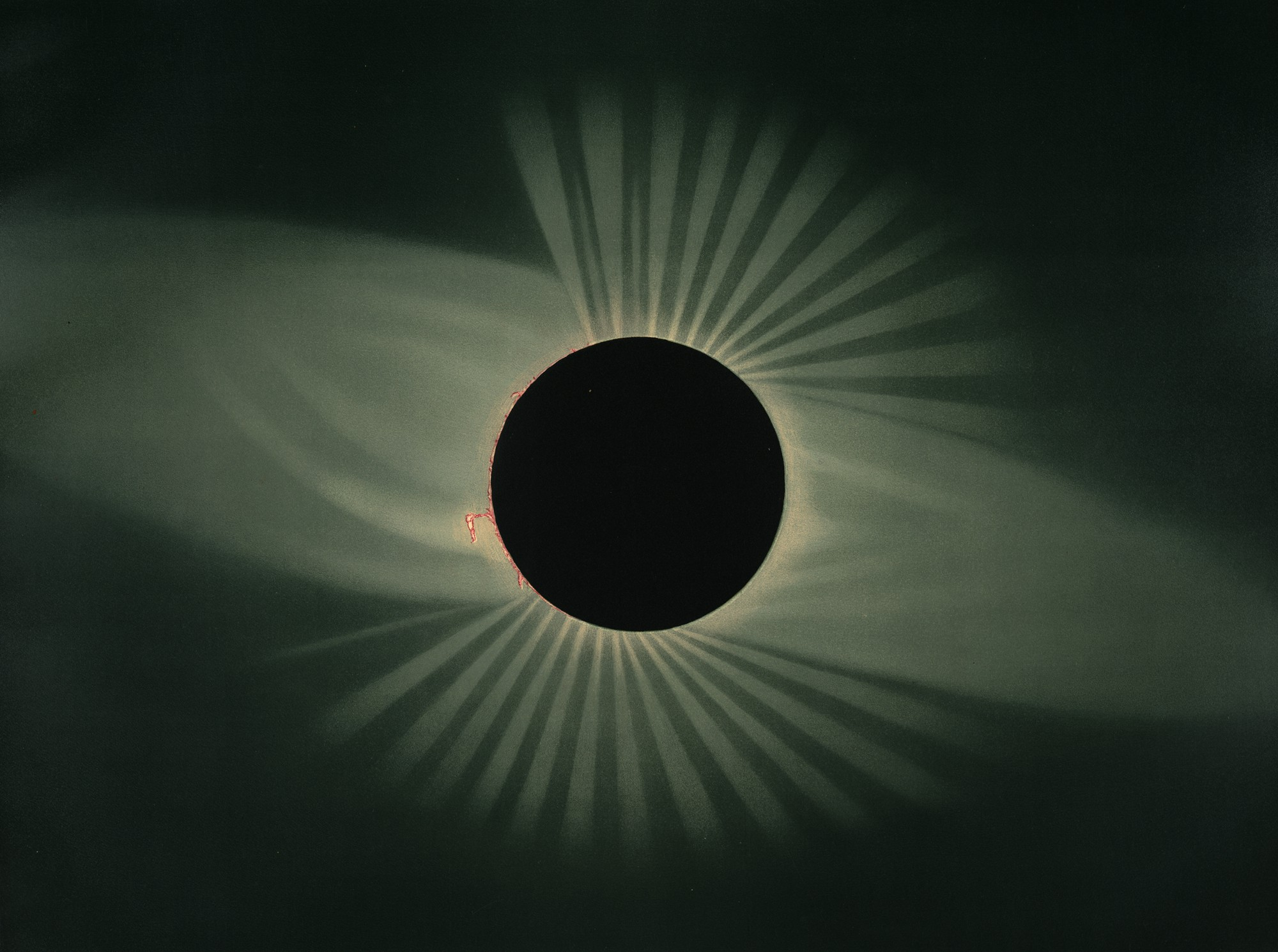 Solar eclipse by E.Trouvelot 1878