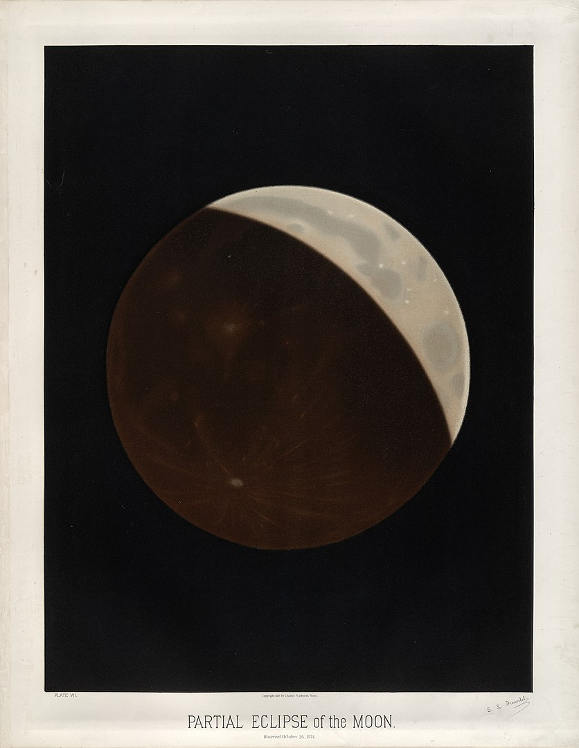 Partial eclipse of the Moon by E.Trouvelot, 1874
