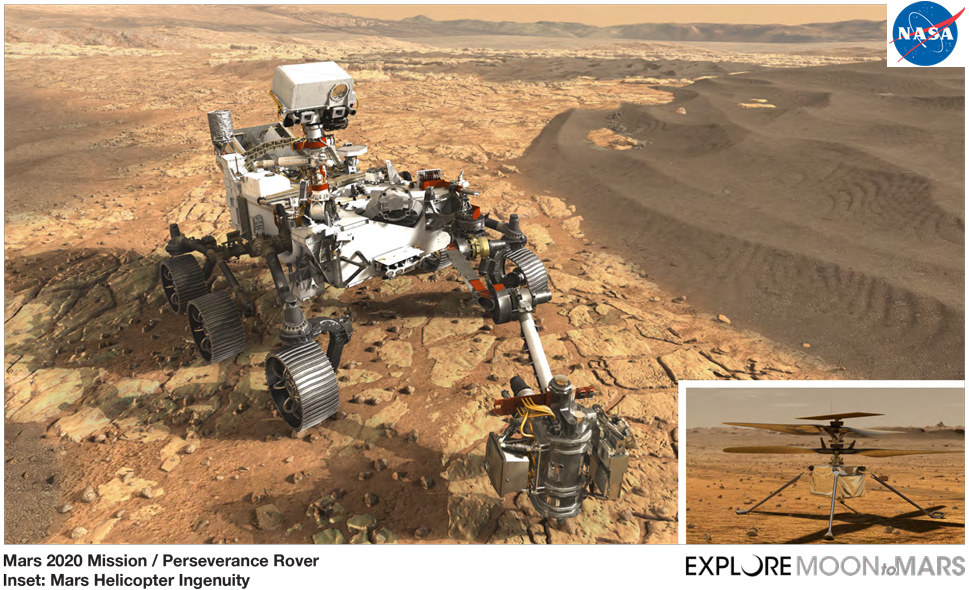 Mars 2020 Perseverance rover and Ingenuity drone