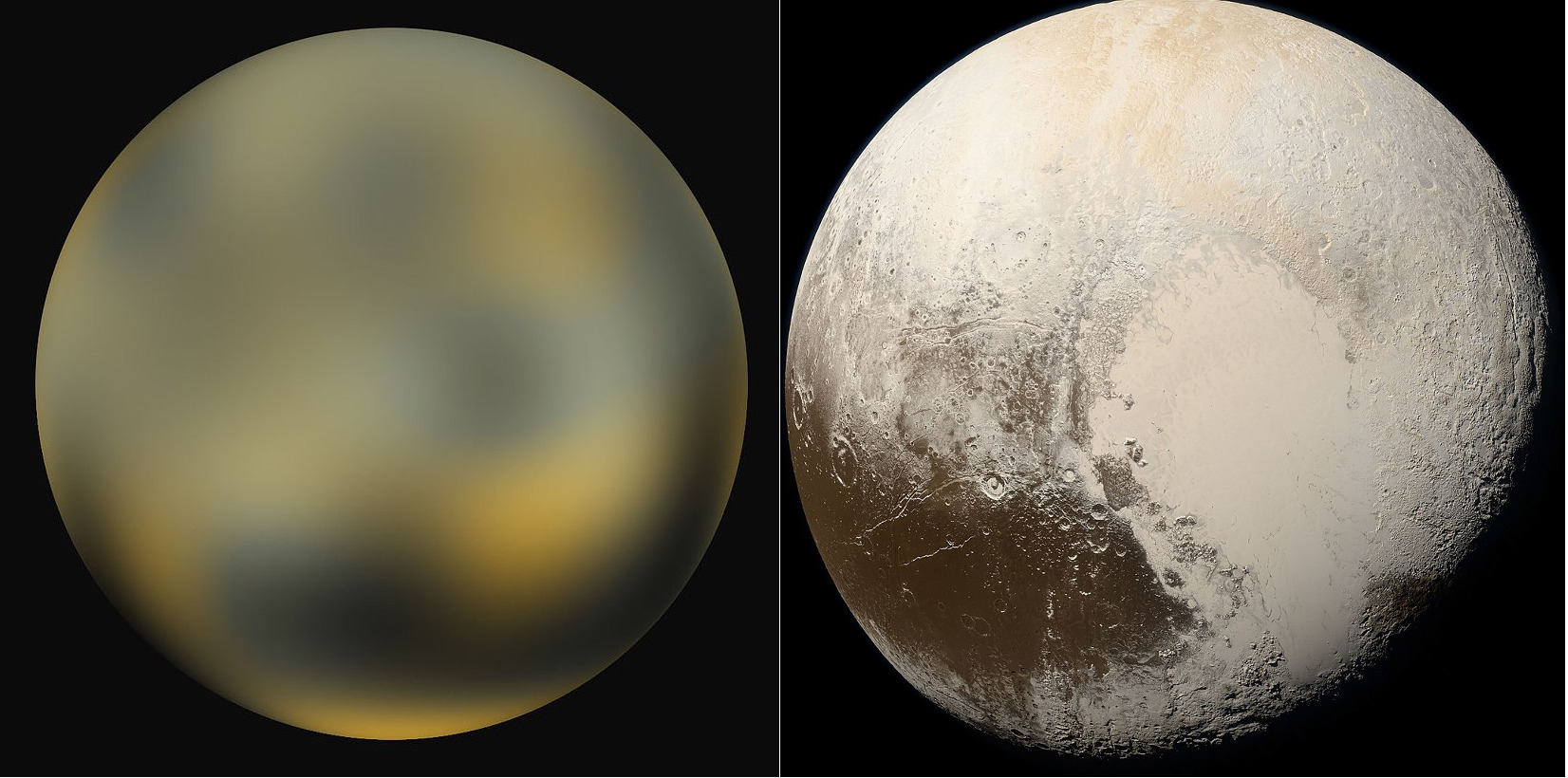 Pluto by Hubble and New Horizons