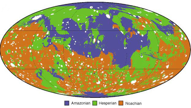 Three geological epochs on Mars