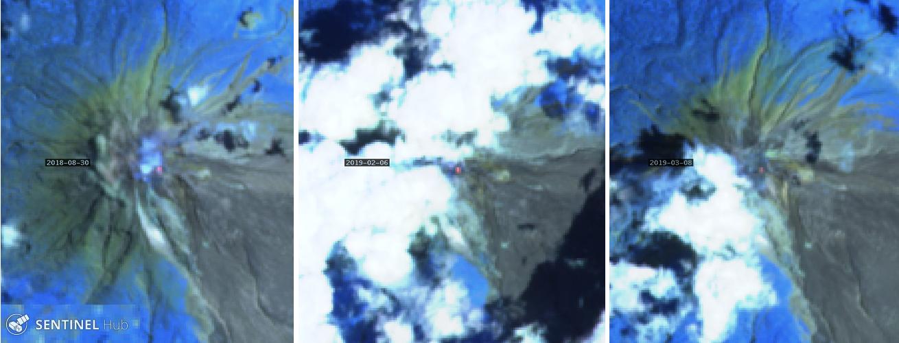 Спутниковые снимки <i>Sentinel-2</i> извержений вулкана Синабун 2018 и2019 гг.
