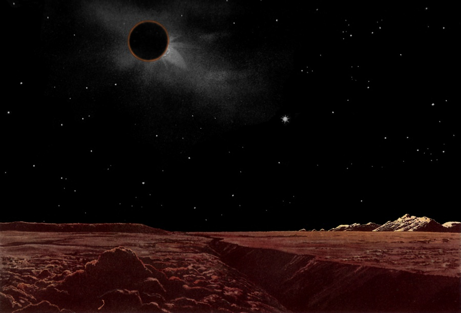 Sun eclipse from the Moon by Lucien Rudaux
