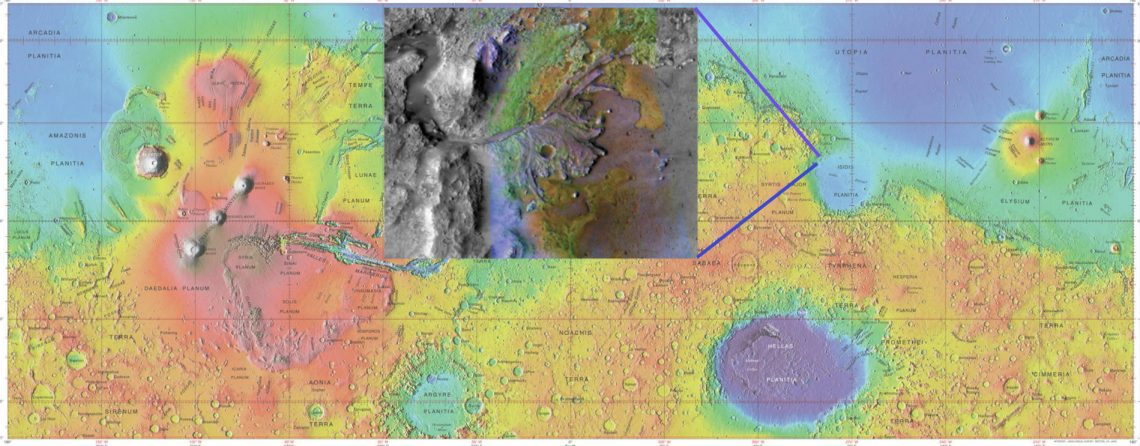 Mars topography and Jezero crater