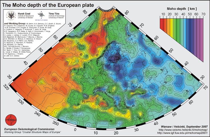 Moho depth at European plate